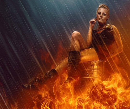 learn how to mix fire and rain effects