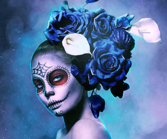 HALLOWEEN TUTORIAL CREATE SUGAR SKULL MAKEUP ON PHOTOS!
